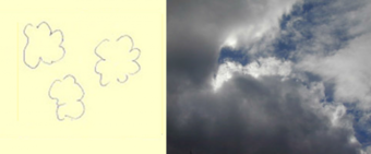 Figure 24: (24a.) Imaginary structure: cotton wool clouds. The clouds are thought of as objects and the sky as background; and (24b.) The real thing: a very different structure. Both sky and clouds are positive in shape, co-existent and interlocking.