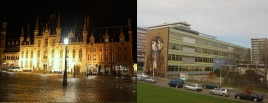Figure 4. On the left is the highly fractal structure of urbanism in Bruges, Belgium. On the right, a much more sparse, fractal-free environment in the modern suburbs of Bruges — which is also far less walkable, and has other negative impacts.