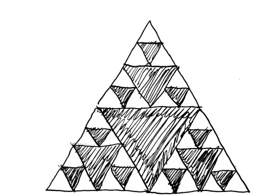 Continuing to evolve, the cellular automaton generates the Sierpinski fractal triangle. The longer we let the automaton run, the more levels of coherent structure we get.