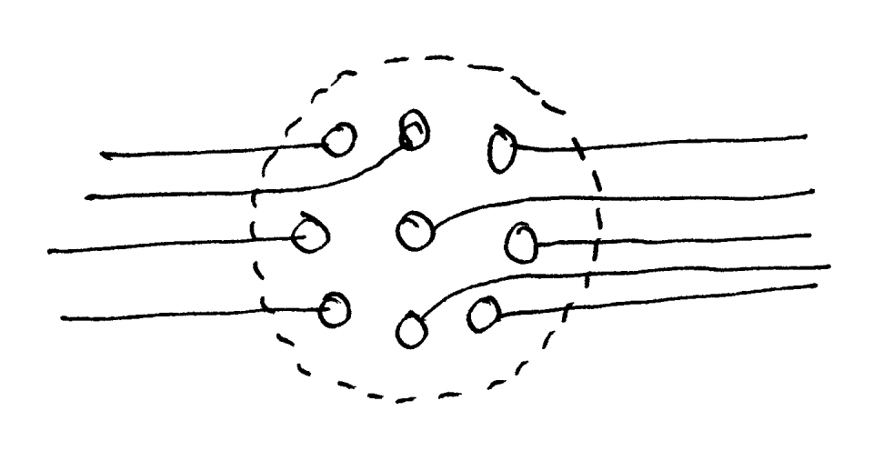 Figure 2. Nine nodes happen to be geometrically next to each other but are not interconnected. They do not form a module, despite their proximity.