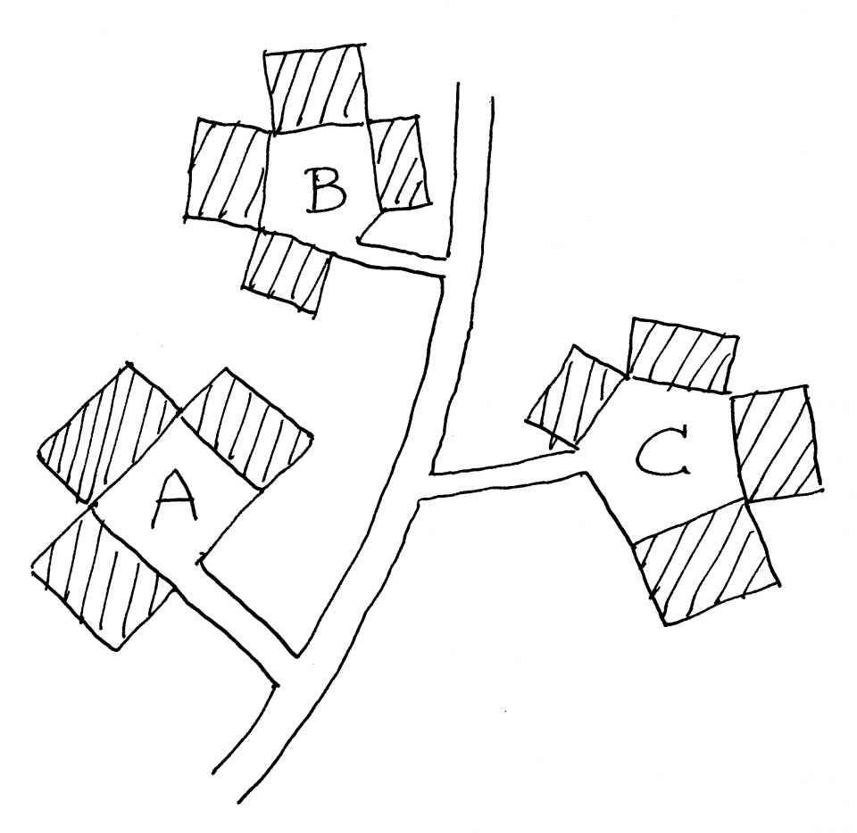 Figure 6. Two modules re-organize themselves over time by defining new connections and new boundaries.